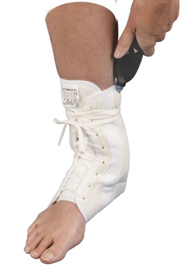 Lace Up Canvas Ankle Brace with Optional Double Air Bladder