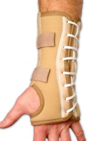 Beige Nylon Lace Up Wrist Support | Right or Left Side